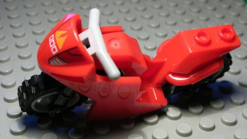 Lego Motorrad Rot Schwarz mit new Grau Felgen aus Ninjago 2255