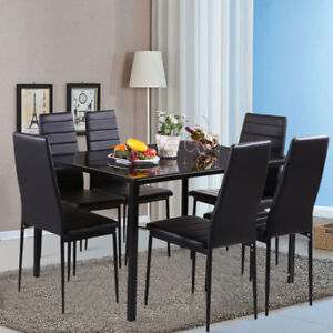Details About Modern 7 Pieces Black Gl Dining Table And 6 Chairs Rectangle Set Kitchen Home