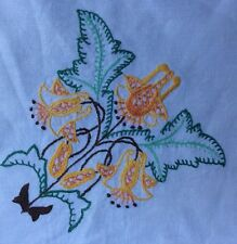 Vintage Retro Hand Embroidery English Floral Pattern Tablecloth 100cm x 100cm