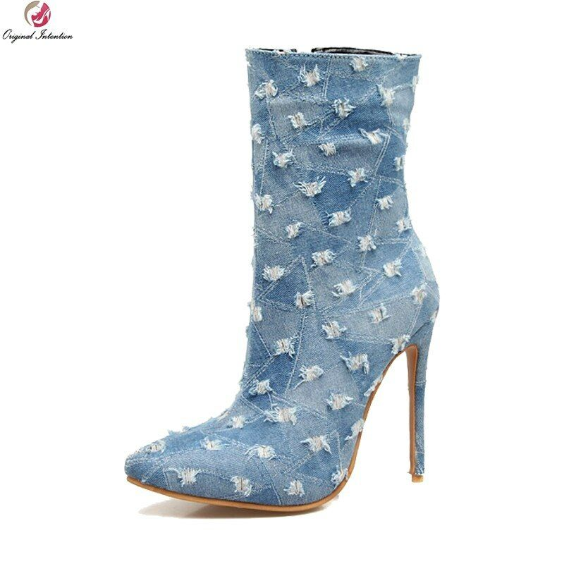 Original Intention Super Women Ankle Boots Denim Heels Boots bluee shoes Woman