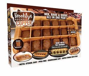 Brooklyn Brownie Nonstick Copper Pan by Gotham Steel, Mix, Bake & Serve Brownies