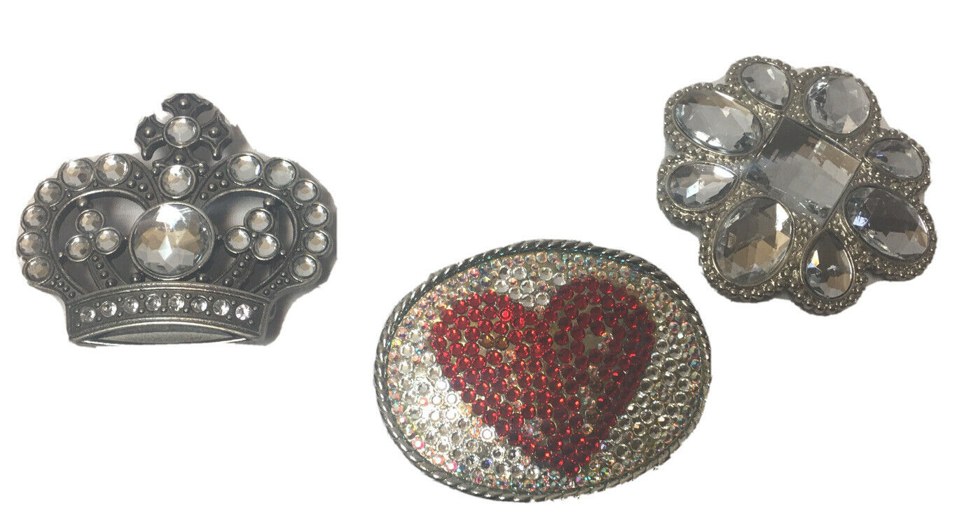 Belt Buckle Princess Crown Heart Flower Color Rhinestones Bling Set of 3 EUC!