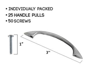Kitchen-Cabinet-Pull-Handles-Satin-Nickel-3-034-Lot-of-25-Drawer-Door-Bathroom-New