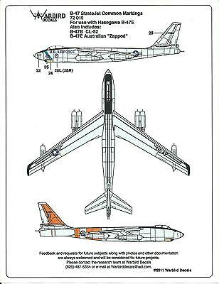 Warbird B-47 Stratojet Stencils, Common Marking Decals 1/72 015, Plus Canadian