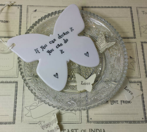 East of India Sign White Porcelain Butterfly Graduation Exam Gift China Gift Tag