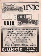 Pub Auto Automobile Unics à Puteaux /Gilette Rasoir de Sureté 1911 ILLUSTRATION