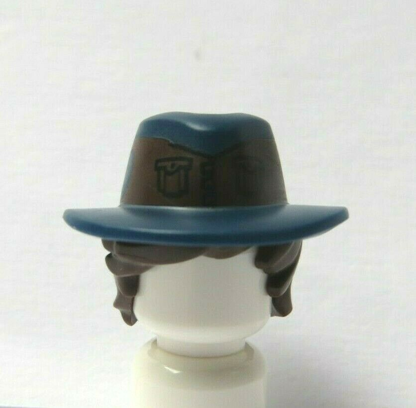Lego 1 Minifigure Brown Tousled Hair Wig /& Dark Blue Hat Cowboy Ranger Soldier