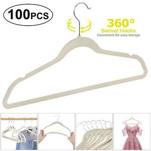 Premium-Coat-Hangers-Flocked-Velvet-Clothes-Hanger-w-360-Swivel-Hook-100-Pack