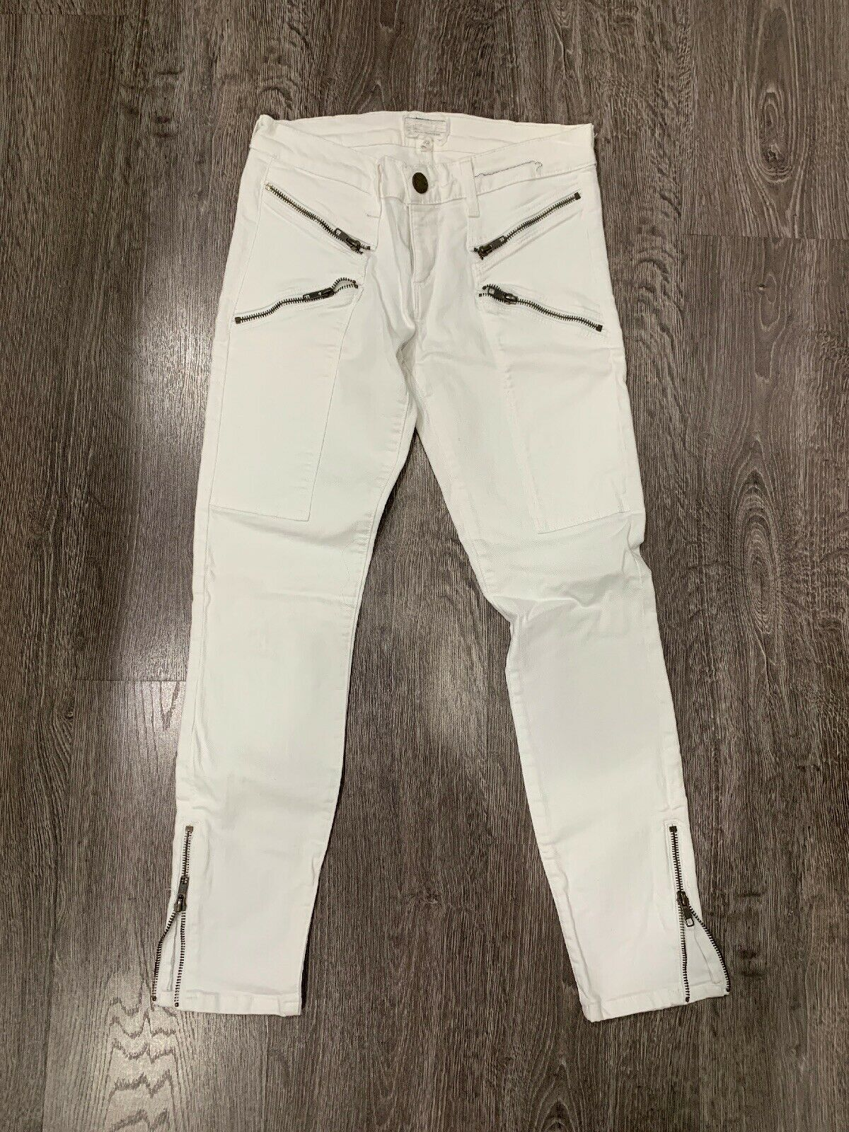Current Elliot White Zippered Skinny Jeans Size 28 EUC