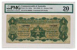 AUSTRALIA banknote 1 Pound 1923 Miller Collins signature PMG VF 20 Very Fine