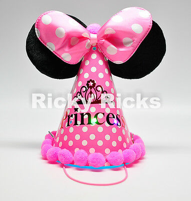 Minnie Mouse Ears Light Up Party Hat Cone Kids Favors Birthday Supplies