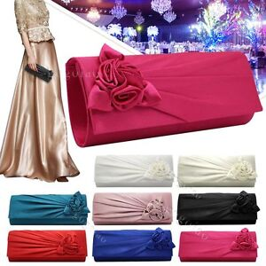 Ladies-Satin-Clutch-Bag-With-Rose-Evening-Wedding-Party-Prom-Bridal-Handbag