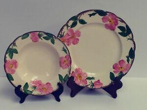 LOT-of-2-Made-in-USA-Franciscan-Desert-Rose-Dinner-Plate-amp-Rim-Soup-Bowl