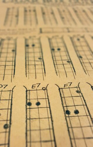 "Cigar Box Guitar Chords Poster Blues Scale Diagram! 3-string Open D /""DAD/"""