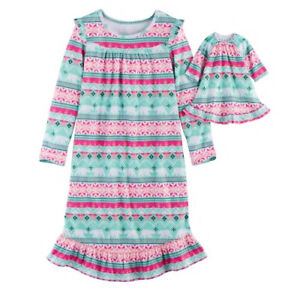 Girl-4-14-and-Doll-Matching-Fair-Isle-Nightgown-Clothes-American-Girl-Dollie-Me