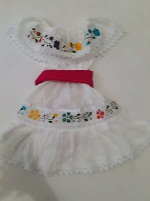 Mexican Girl Maria Bonita Dress Lace Embroidered Flower variety of colors 2-3T