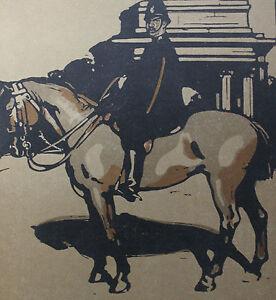 """William Nicholson 1898 Types de Londres London Le Policeman - France - LITHOGRAPHIE ORIGINALE EN COULEURS DAPRS LES BOIS GRAVÉS PAR WILLIAM NICHOLSON 1898 (Paris, Floury) EXTRAITE DE L'OUVRAGE """"LES TYPES DE LONDRES"""" 1898 (imprimé 600 exemplaires sur vélin fort et 40 sur Japon) 1 FEUILLE 34 x 28 CM. LITHO 25,5 x 2 - France"""