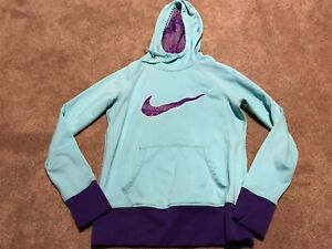 Details about Womens Nike Mint Green Purple Hoodie Therma Fit Sweatshirt Size Medium