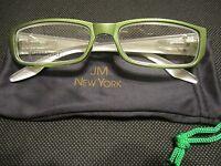 Jm York Reading Glasses +3.50 Olive Green W/crest Emblem Spring Hinged