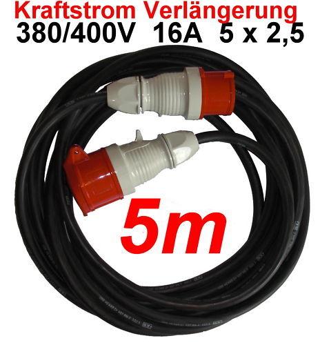 CEE 16A Verlängerungskabel 5m 380 400 V Kabel 5x2,5mm² | Bevorzugtes Material