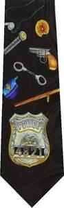 POLICE-BADGE-HANDCUFF-GUN-NEW-NOVELTY-TIE