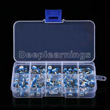 100pcs 10 Value Potentiometer Trimpot Variable Resistor Assortment Box Kit