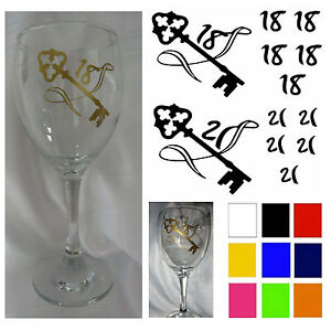 18th 21st Key Sticker 18th 21st Birthday Sticker Wine Glass Stickers DIY sticker Home & Garden