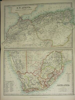 1896 LARGE VICTORIAN MAP ~ NORTH WEST AFRICA & SOUTH AFRICA WITH