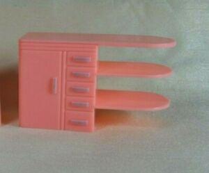 Vintage Plasco Renwal Dollhouse Pink Kitchen Sideboard Cabinet