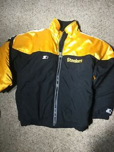 Vtg-Pittsburgh-Steelers-NFL-Starter-Zip-Up-Jacket-Mens-size-Large-L