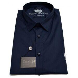 Camicia-Cesare-Paciotti-camiciotto-manica-corta-Uomo-Men-shirt-Made-in-Italy-Bl
