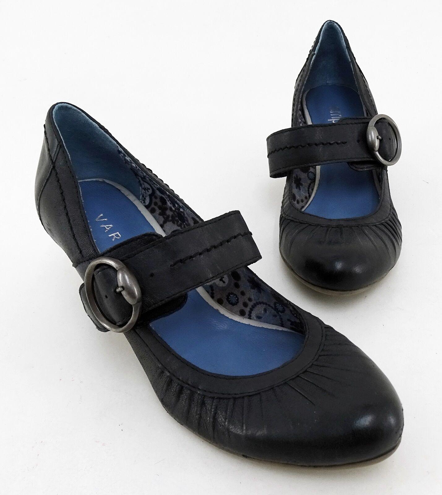 Escarpins VARESE empodium Barrette véritable cuir noir taille 39