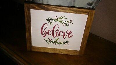 Christmas Wood Signs.Believe Christmas Wood Sign Primitive W Raised Border Ebay