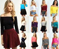 New Ladies Womens Off The Shoulder Top Ladies 3/4 Sleeve Crop Top Size UK 8 - 14