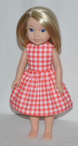 Country Gingham Print Dress Clothes Fits American Girl Wellie Wisher Dolls
