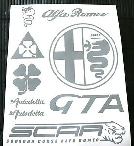Kit-9-adesivi-Alfa-Romeo-decal-sticker-quadrifoglio-verde-GTA-156-147-autodelta