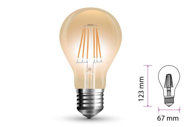 Lampada Filo Led a Filamento E27 10W A67 Bianco Caldo 2200K Cover Amber SKU-715