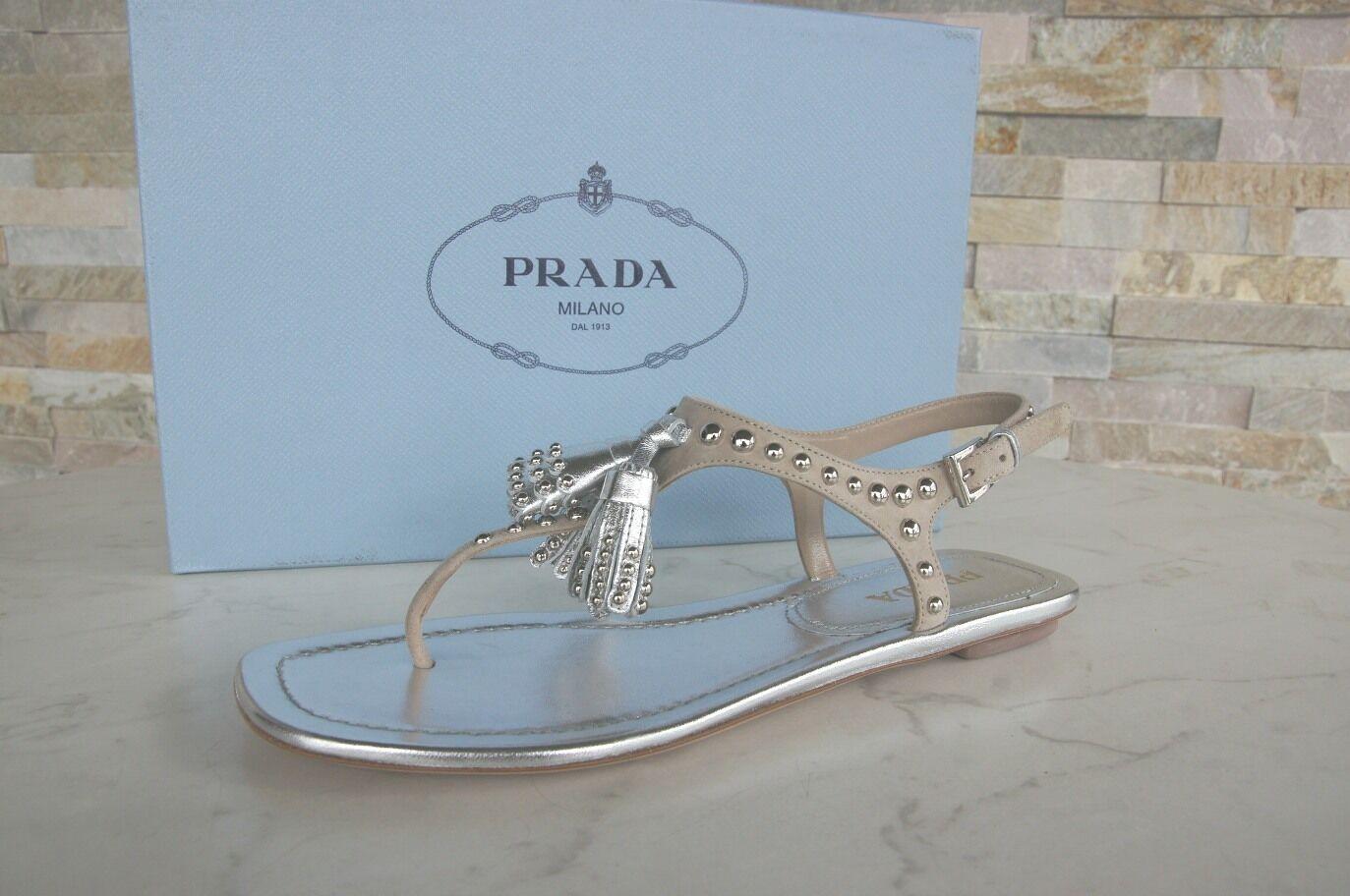 Prada talla 36,5 dedos zapatos sandalias, zapatos zapatos zapatos cuarzo plata borlas nuevo ex PVP  servicio honesto