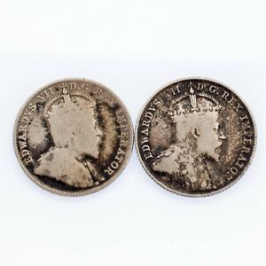 Lot-of-Two-Canada-10-Cent-1903-H-and-1907-in-Fine-Condition-KM-10