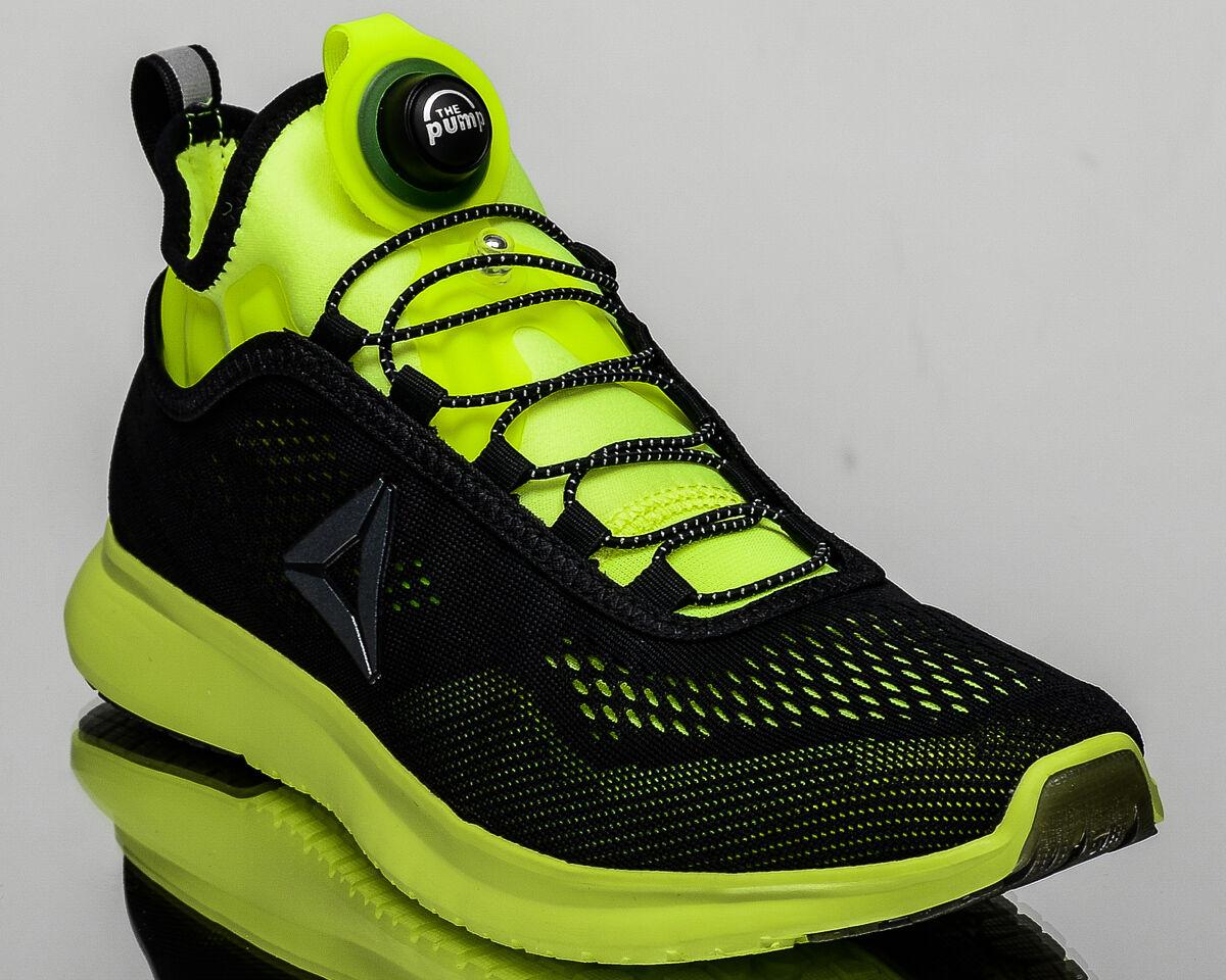Reebok Pump Plus Tech men run running shoes NEW black solar yellow BD4864