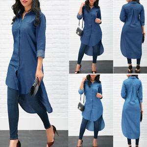 Fashion-Women-Casual-Long-Sleeve-Solid-Irregular-Split-Hem-T-Shirt-Tops-Blouse