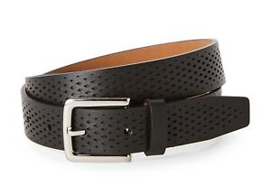 COLE HAAN WASHINGTON GRAND LASER CUT PERFORATED LEATHER BELT IN BLACK NEW W//TAGS