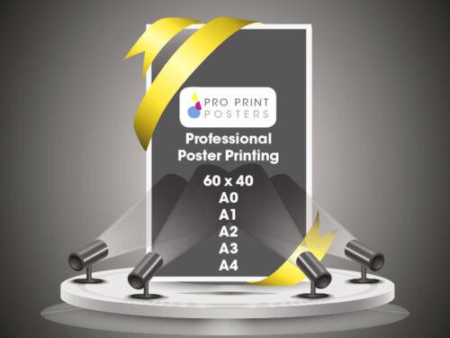 Gloss or Satin Colour Poster Printing 60x40 A0 A1 A2 A3 A4