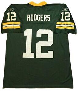 NFL-Reebok-Aaron-Rodgers-12-Green-Bay-Packers-Jersey-Men-039-s-L