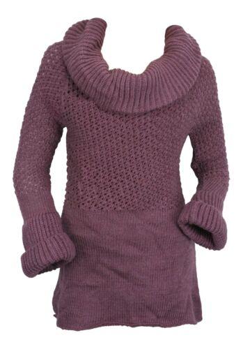 Ex Store a trama grossa Cappuccio Collo Crochet Knit Maglione Abito Heather PURPLE
