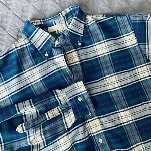 Vtg-LL-Bean-Tartan-Plaid-Long-Sleeve-Button-Shirt-Mens-Large-L-USA-Made