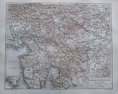 KRAIN-KÜSTENLAND 1895 alte Landkarte Karte antique map Lithographie