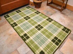 Small Large Green Tartan Long Hall Runner Kitchen Floor