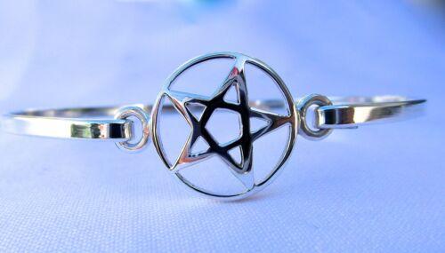 nuevo!!!!!! Plata esterlina 925 Pentagrama en Círculo PULSERA!!!!!