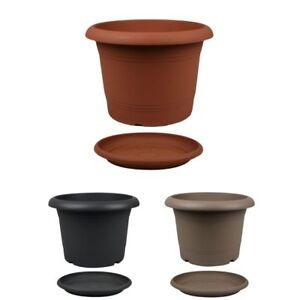 Pflanzkuebel-oder-Untersetzer-rund-Kunststoff-Blumenkuebel-Pflanztopf-Blumentopf
